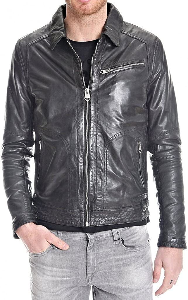 New Mens Leather Motorcycle Jacket Slim Fit Leather Coats LF563