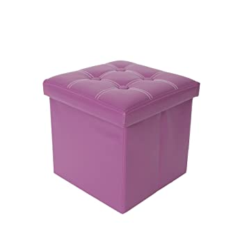 Rebecca Mobili Pouf Coffre Boite de Rangement Tabouret Faux Cuir Violet  Moderne Decor Maison (Cod 2dd89c239741