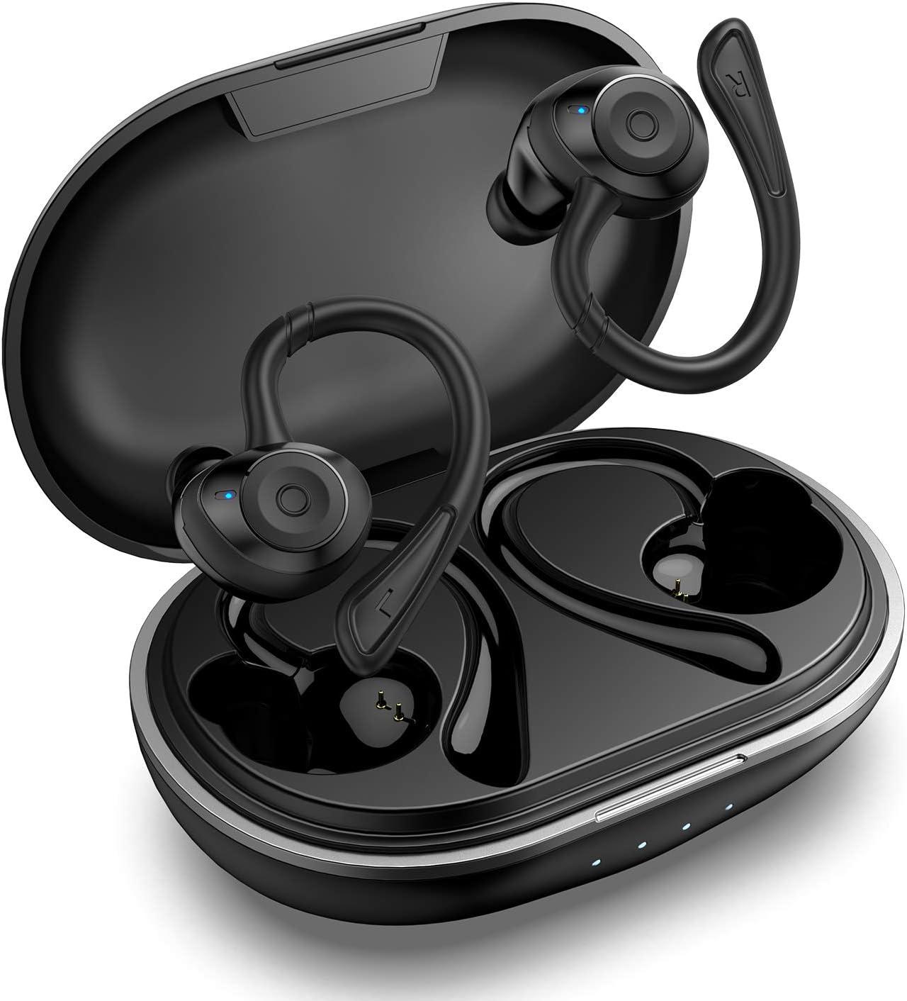 HolyHigh Auriculares Inalambricos Bluetooth 5.0 IPX7 Impermeable In-Ear Auriculares Deportivos con Cancelación de Ruido 6+30H Tiempo de Reprodución Sonido Estéreo con Microfono Incorporado