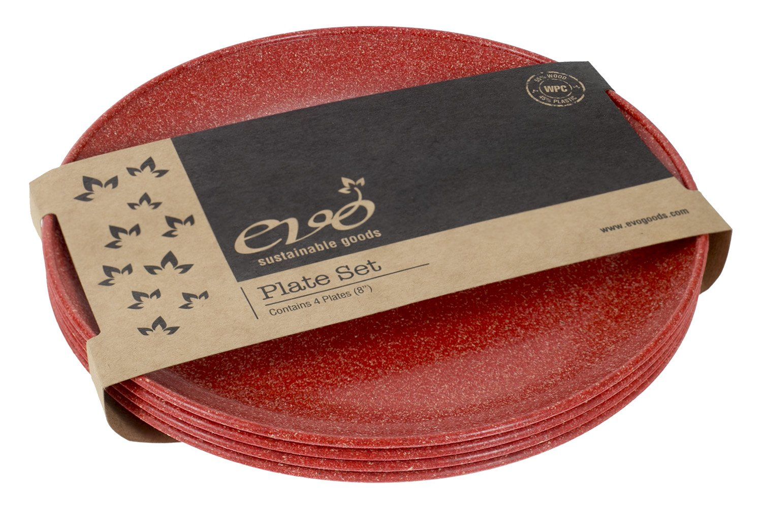 """EVO Sustainable Goods 8"""" Plate, Set of Four, Red"""