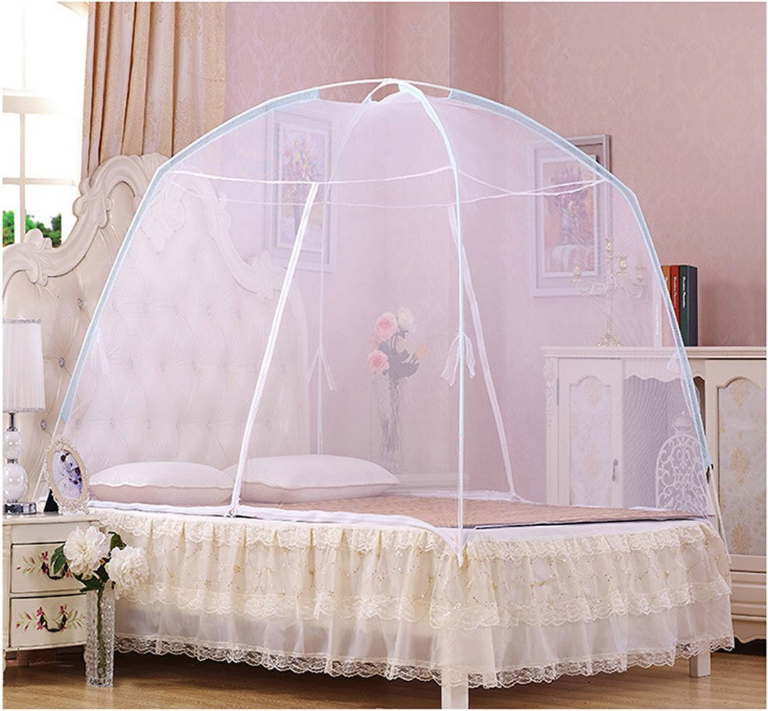 CdyBox Foldable Baby Adult Double Zipper Door Sleeping Yurt Mosquito Net Bed Canopy with Stand L, White