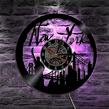 QUTICL1 Pieza Paisaje Urbano York Reloj de Pared de Vinilo Reloj Skyline Estatua de la Libertad