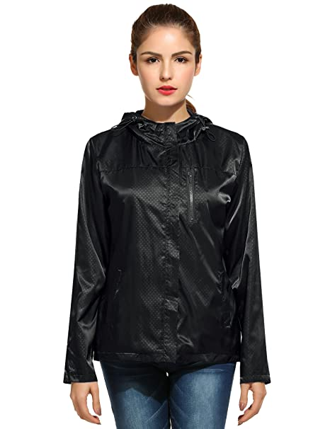 Meaneor Damen Imprägniern Regenmantel Im Freien Mit Kapuze Regenjacke  Gepunktet: Amazon.de: Bekleidung