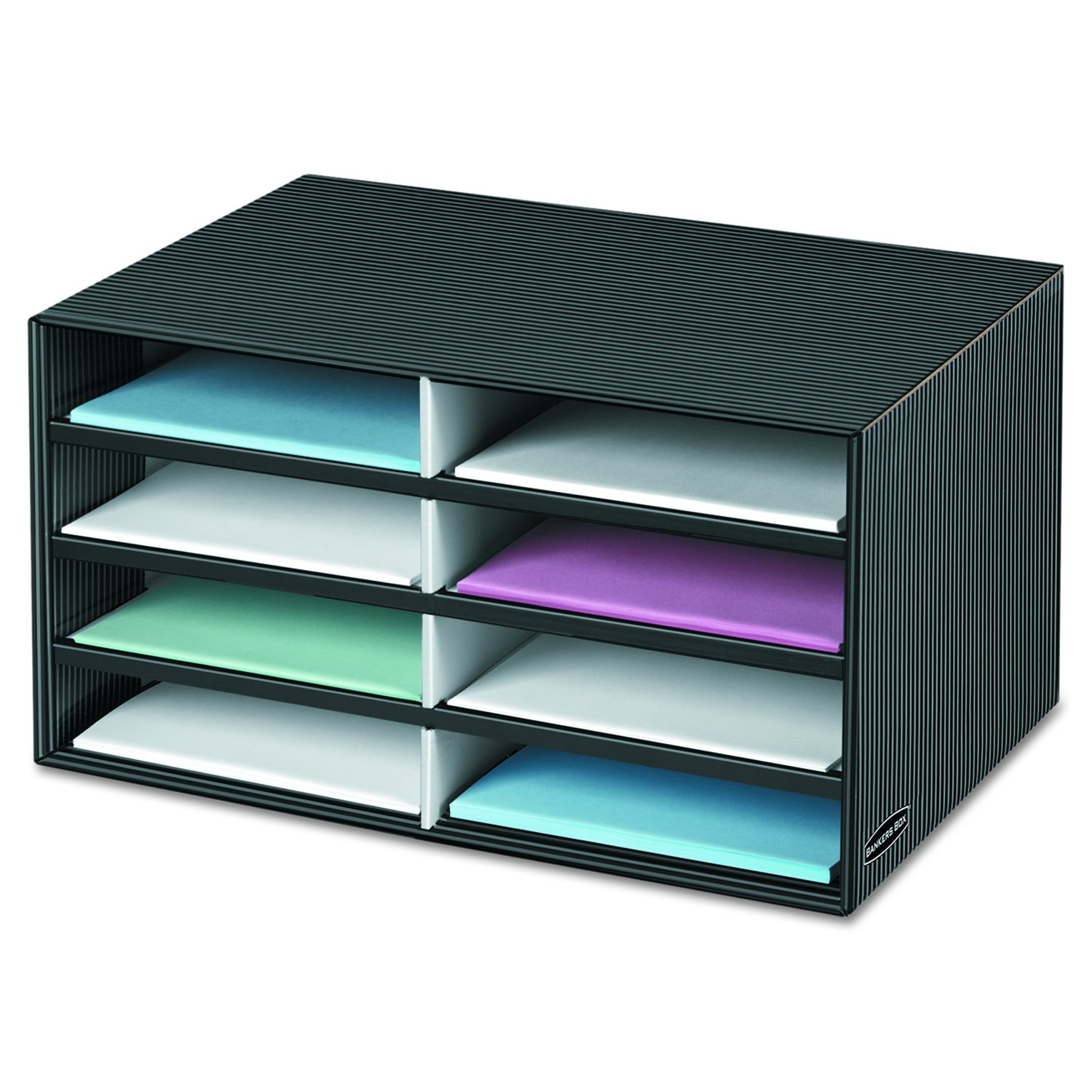 Bankers Box Decorative Eight Compartment Literature Sorter, Letter, Black/Gray Pinstripe (6170301) by Bankers Box