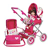 Adora Doll Accessories Adjustable Handle Deluxe Toy Play Stroller with free Diaper & Carriage Bag for Kids 2 years & up