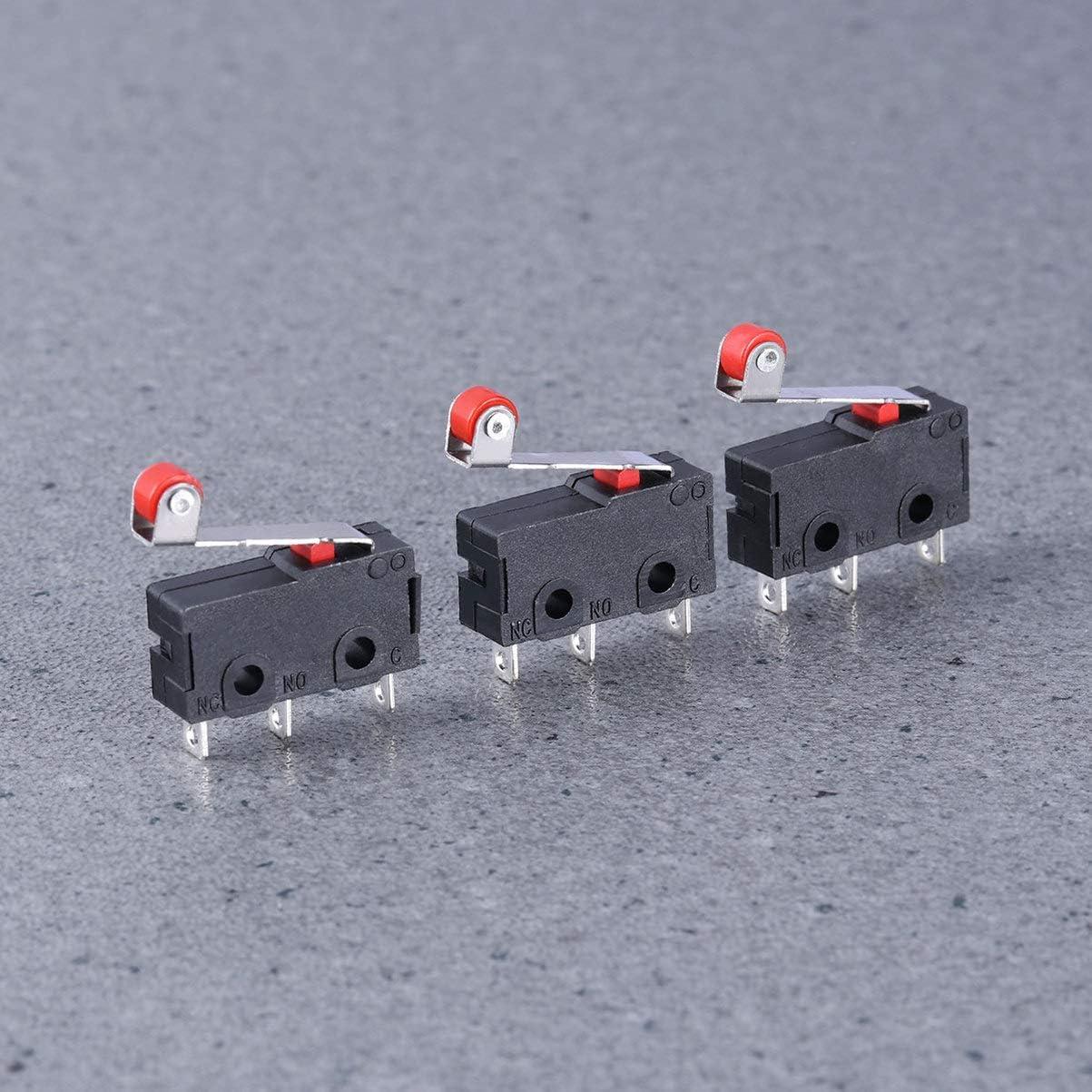 LIOOBO 10Pcs Mini Prime Action Instantan/ée Spdt Micro Interrupteur Fin de Course Rouleau Bras de Levier Durable pour Exp/ériences en /électronique