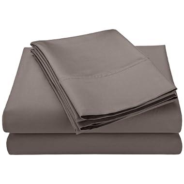 Cotton Blend 600 Thread Count , Deep Pocket, Soft, Wrinkle Resistant 4-Piece Queen Bed Sheet Set, Solid Grey