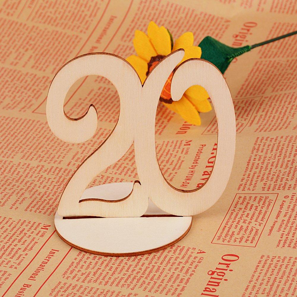 20X Números de Mesa 1-20 para Boda de Madera con Base de Soporte Signo Decoración de Fiesta Cumpleaños