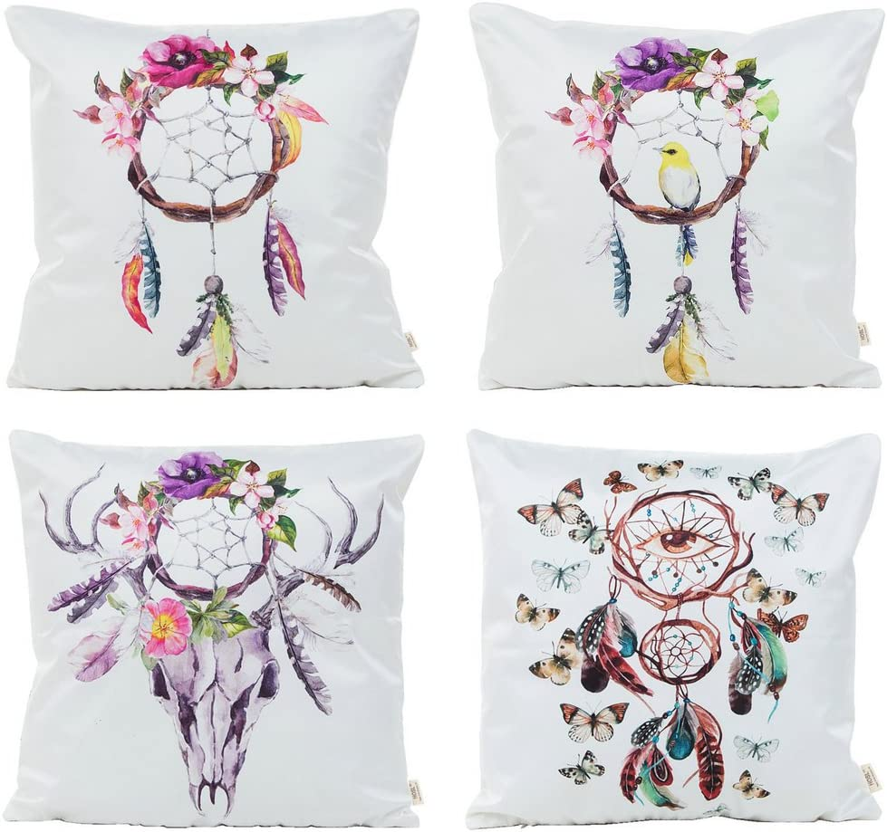 HOSL PFS08 Fashion Design Sofa Home Decor Square Decorative Cushion Cover Man Made Silk Throw Pillow Case Set of 4