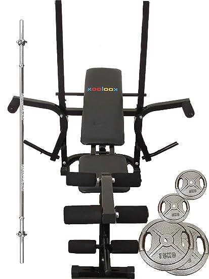 Koolook - Gym Bench - Banco para levantamiento de pesas + 2 discos de 5 kg