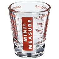 Kolder 13211 Mini Measure Heavy Glass, 20-Incremental Measurements Multi-Purpose Liquid and Dry Measuring Shot Glass, Red