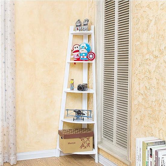 Asunflower 5-Tier Wooden Ladder Shelf, White Wall Corner Bookshelf