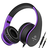 Sound Intone I68 Foldable Portable 3.5mm High-Performance Over-ear Headphones, Adults/Kids Lightweight Headphones, In-line Volume Control and Microphone(Black/Purple)