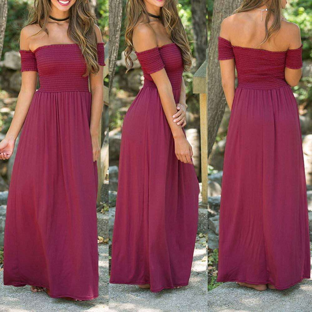 Dress for Women,JFLYOU Ruffle Off Shoulder Summer Beach Holiday Evening Party Long Maxi Pleated Dress