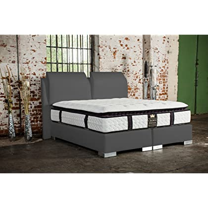 boxspringbett exzellenz deluxe 140x200 grau g nstig. Black Bedroom Furniture Sets. Home Design Ideas