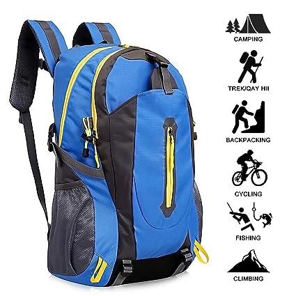 Mochila de montañismo al aire libre, mochila de viaje deportivo negro / azul Mochila de