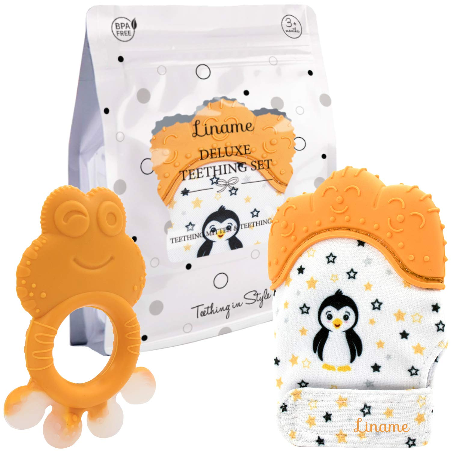 Provides Soothing Relief /& Solves Your Babies Teething Problems Safe Liname️ Deluxe Teething Set Includes Teething Mitten for Babies /& Teething Toy BPA Free Washable Teething Mitt