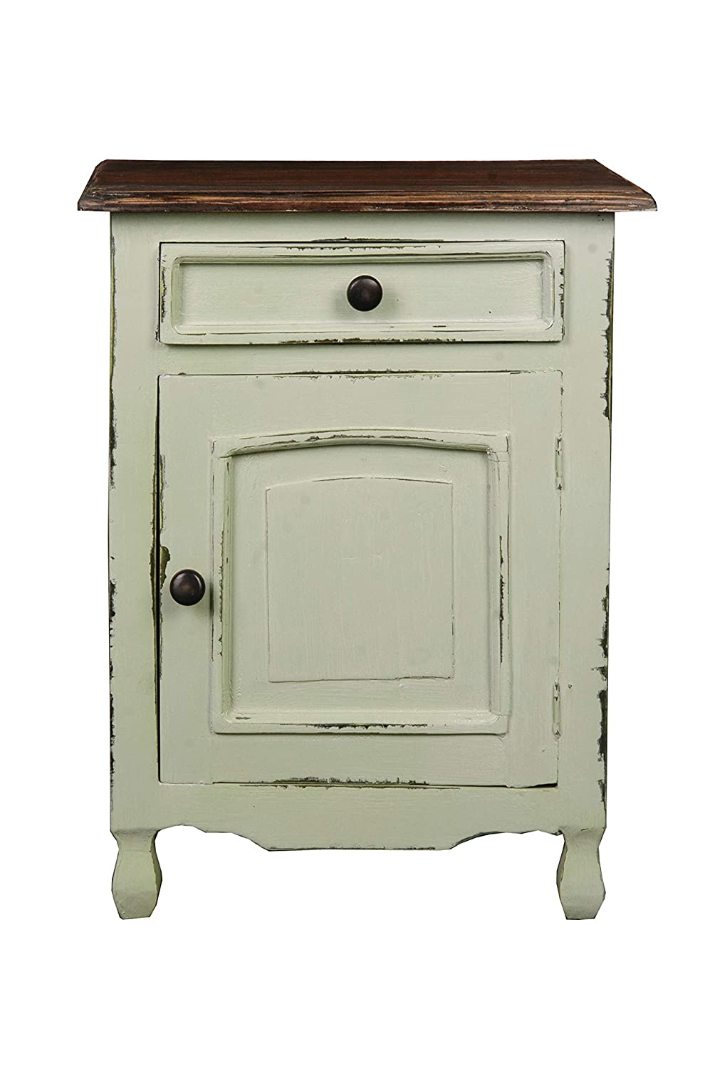Sunset Trading Shabby Chic Cottage Side Table with Storage, One Drawer, Light Green/Raftwood