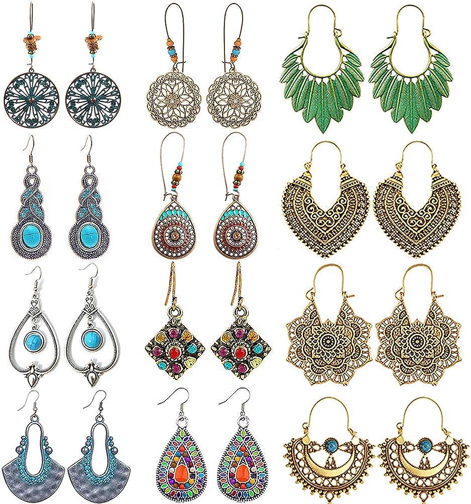 12 Pairs Vintage Statement Bohemian Earrings Drop Dangle Earrings Set National Style Hollow Water Drop Heart Shaped Long Boho Dangle Earrings for Women fashion Girls
