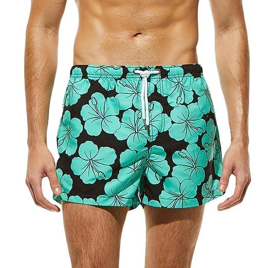 c0e077fa311e1 YJYDADA Beach Shorts,Men Breathable Trunks Pants Color Flower Print Swimwear  Beach Shorts Slim Wear