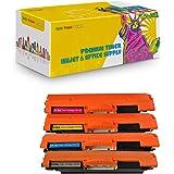 New CE310A CE311A CE312A CE313A Compatible Toner Cartridges for HP Color LaserJet Pro: 100 MFP M175nw, CP1025nw, M275 - 4 Pack - 1 Black + 1 Each Color