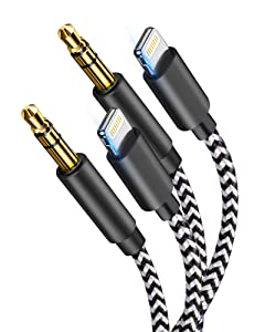[Apple MFi Certified] Aux Cord for iPhone,2 Pack Lightning to 3.5mm AUX Audio Nylon Braided Cable Stereo Aux Cable for iPhone 12/12 Pro/XS/11 8 7/iPod to Car,Home Stereo,Support All iOS System (3.3FT)