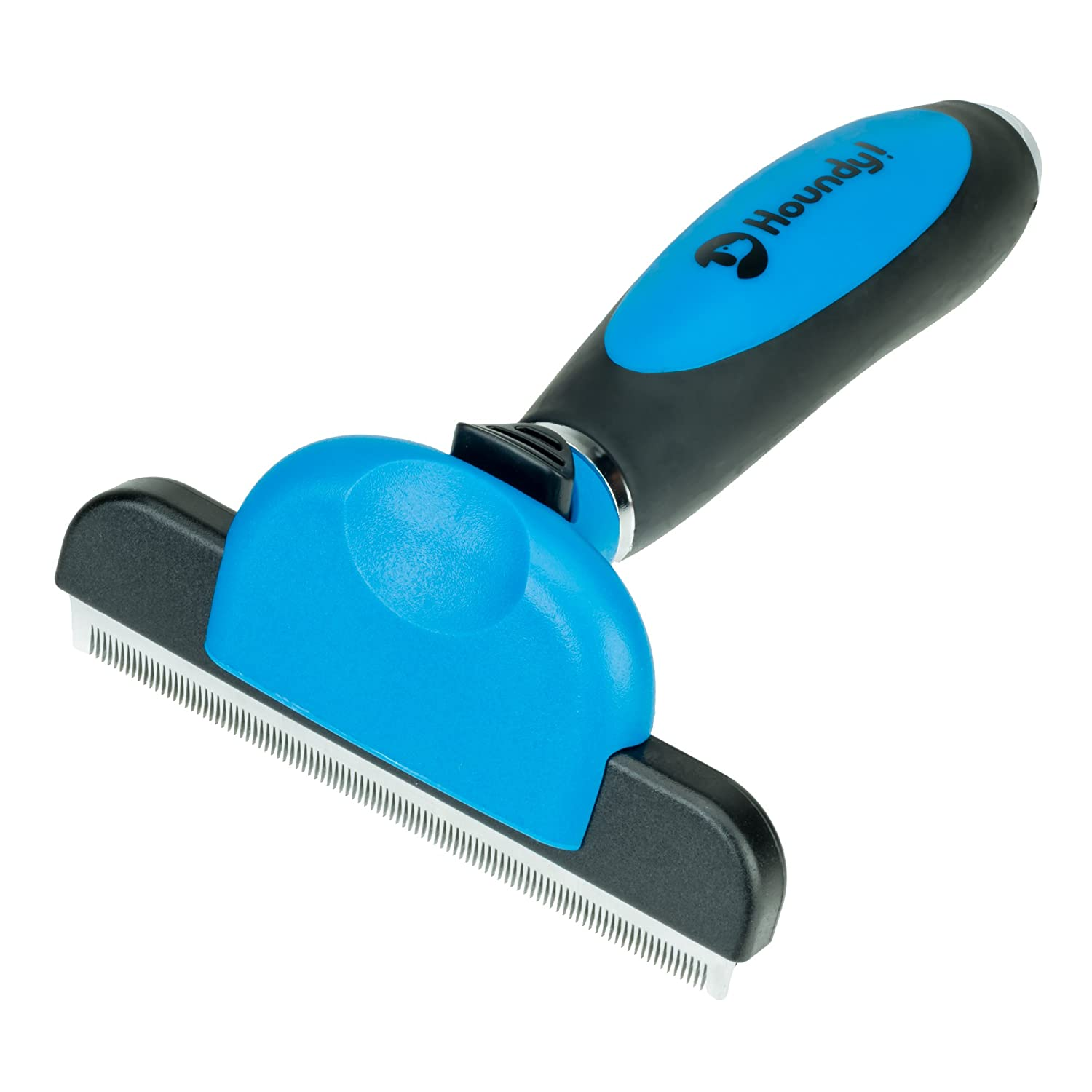 Large Houndy  Professional Pet Deshedder and Grooming Brush for Dogs and Cats, Dramatically Reduces Shedding by up to 95%. Upgraded Dog Brush with Fur Ejector and Ergonomic Handle for Medium and Large Pets.