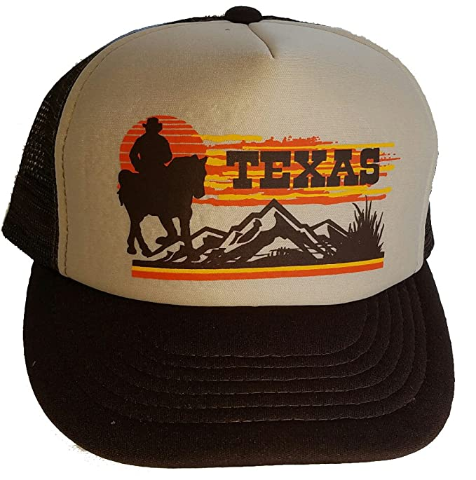 521f032db00 Amazon.com  Texas Sunset Cowboy Horse Mesh Trucker Hat Cap Snapback ...