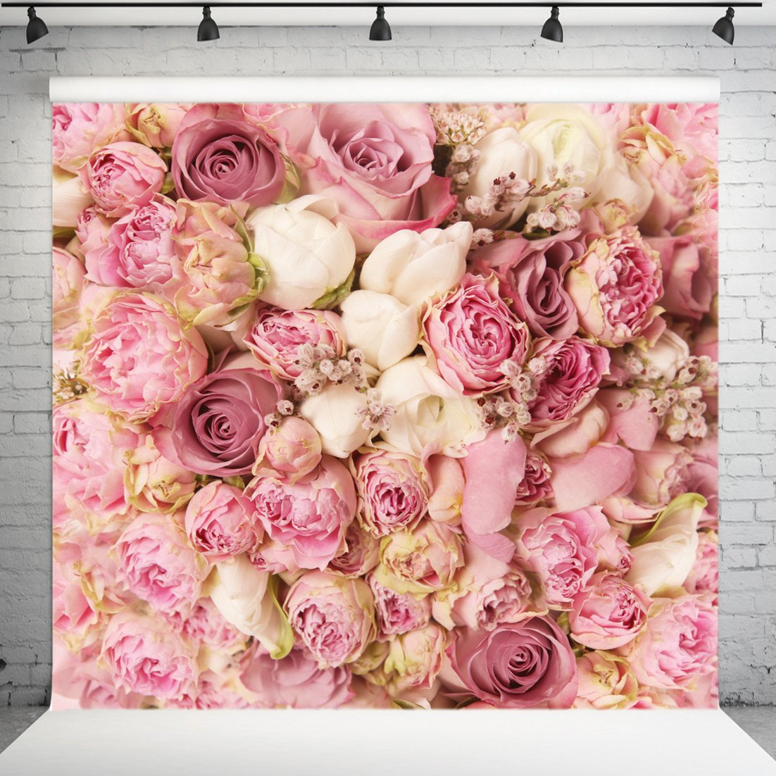 WOLADA 8x8ft Rose Floral Wall Wedding Photography Backdrop Art Fabric studio Pink Flowers Wall Photo Backdrop 9604 by WOLADA