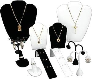 FindingKing Black Velvet & White Jewelry Display 11 Pc Set Bonus