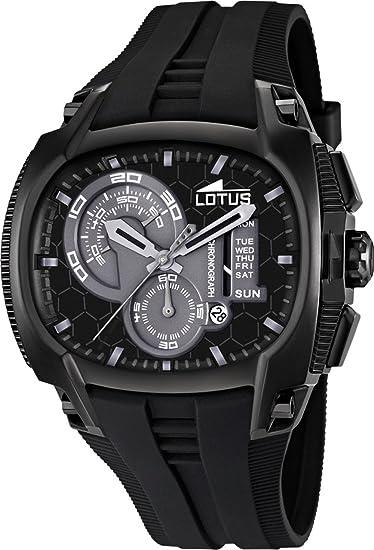 Lotus 15755-4 - Reloj analógico de cuarzo para hombre con correa de caucho, color negro: Amazon.es: Relojes
