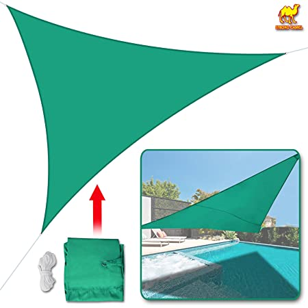 STRONG CAMEL Sun Shade Sail UV Top Cover Canopy 12 Triangle for Outdoor Patio Lawn Backyard-GREEN