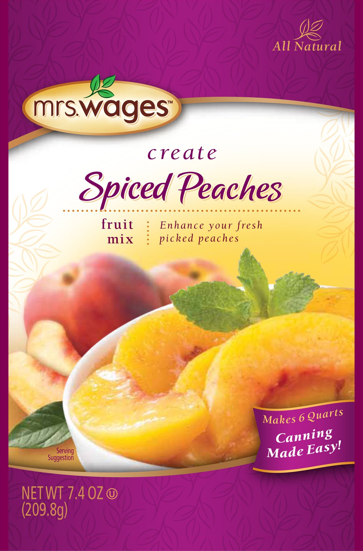 Mrs. Wages Fruit Mix, Spiced Peach, 7.4 Ounce (Pack of 12)