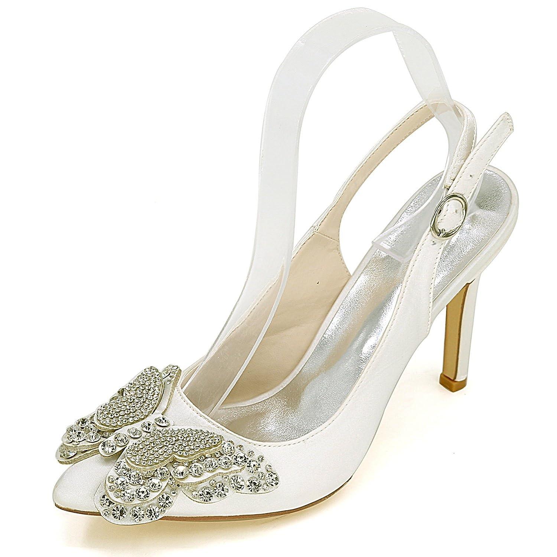 Elobaby Mujer Zapatos de Boda satén tamaño Flores Hebilla Tacones Altos  D-456 Grueso tacón 95e1a05a714c