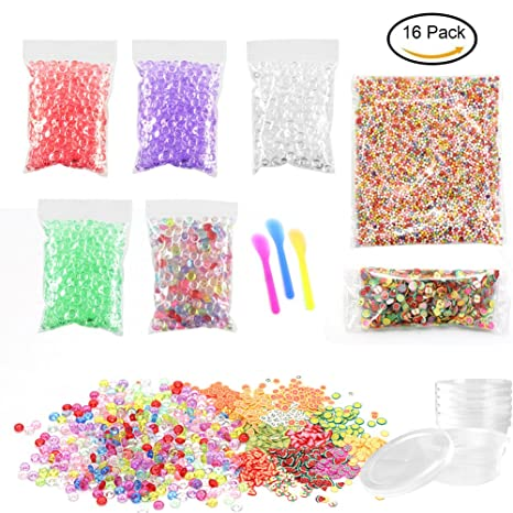laconile DIY perlas de Pecera con purpurina para Slime, 20000pcs Multicolor pelotas de espuma para Slime ...