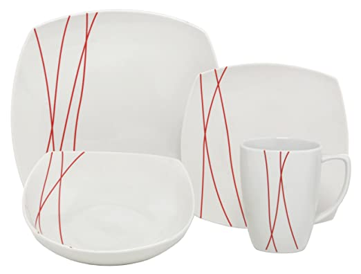 Christmas Tablescape Decor - Red Lines square white porcelain 32-piece dinnerware set, service of 8 by Melange