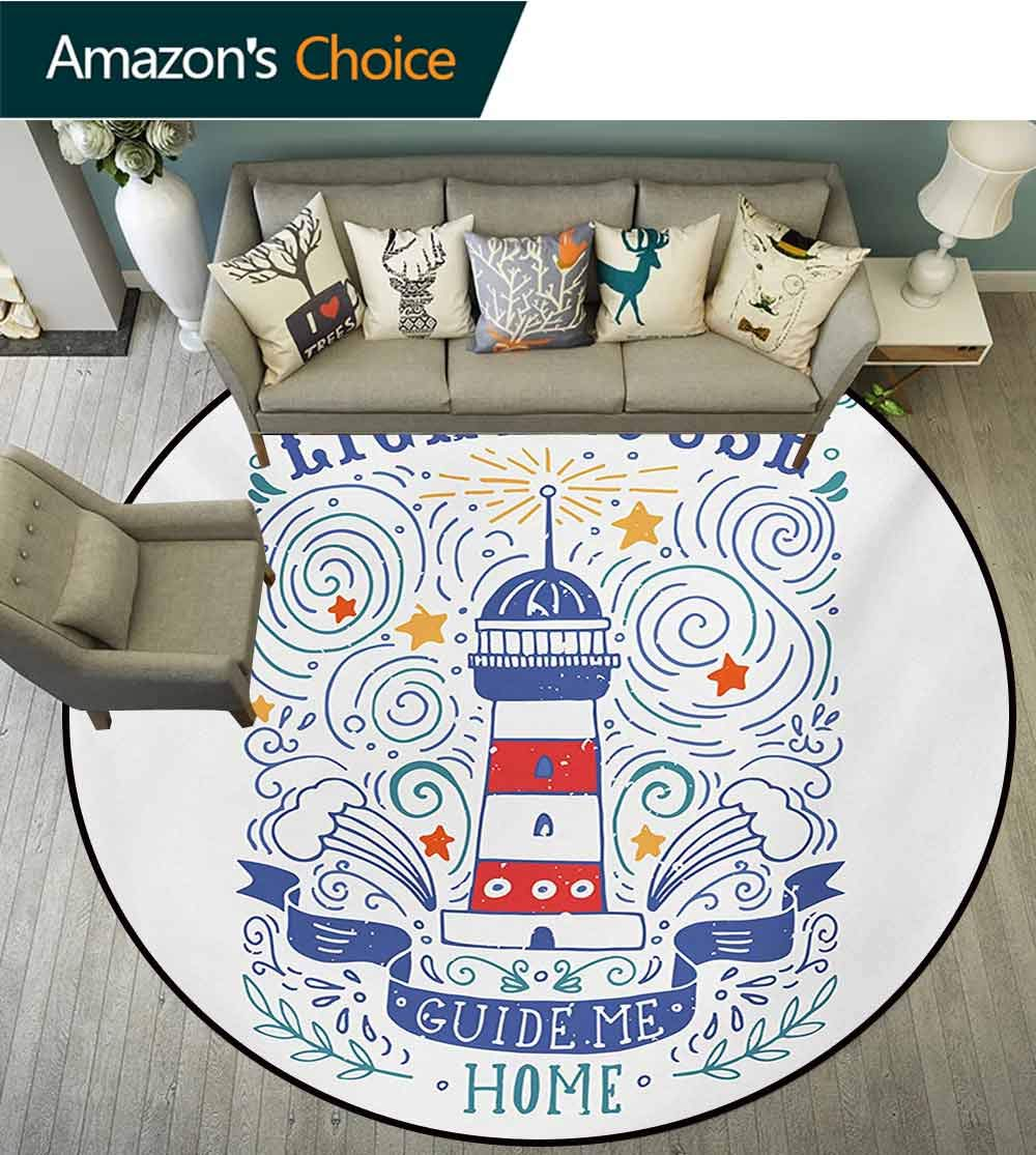RUGSMAT Lighthouse Machine Washable Round Bath Mat,Vintage Hand-Drawn Lighthouse Print Typography Stars Waves Branches Lettering Non-Slip No-Shedding Bedroom Soft Floor Mat,Round-55 Inch by RUGSMAT (Image #2)