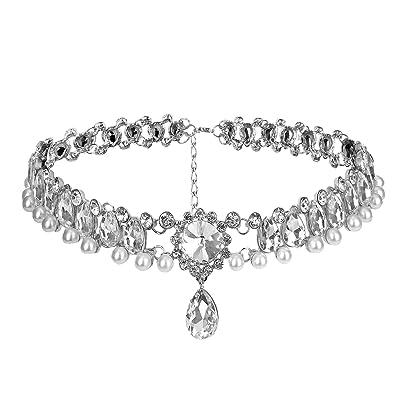 6bb0dfc5c47 Petalum Collier Bijoux Femme Alliage Gouttes Chaîne Ras du Cou Perle Faux  Strass Fantaisie Choker Fleur
