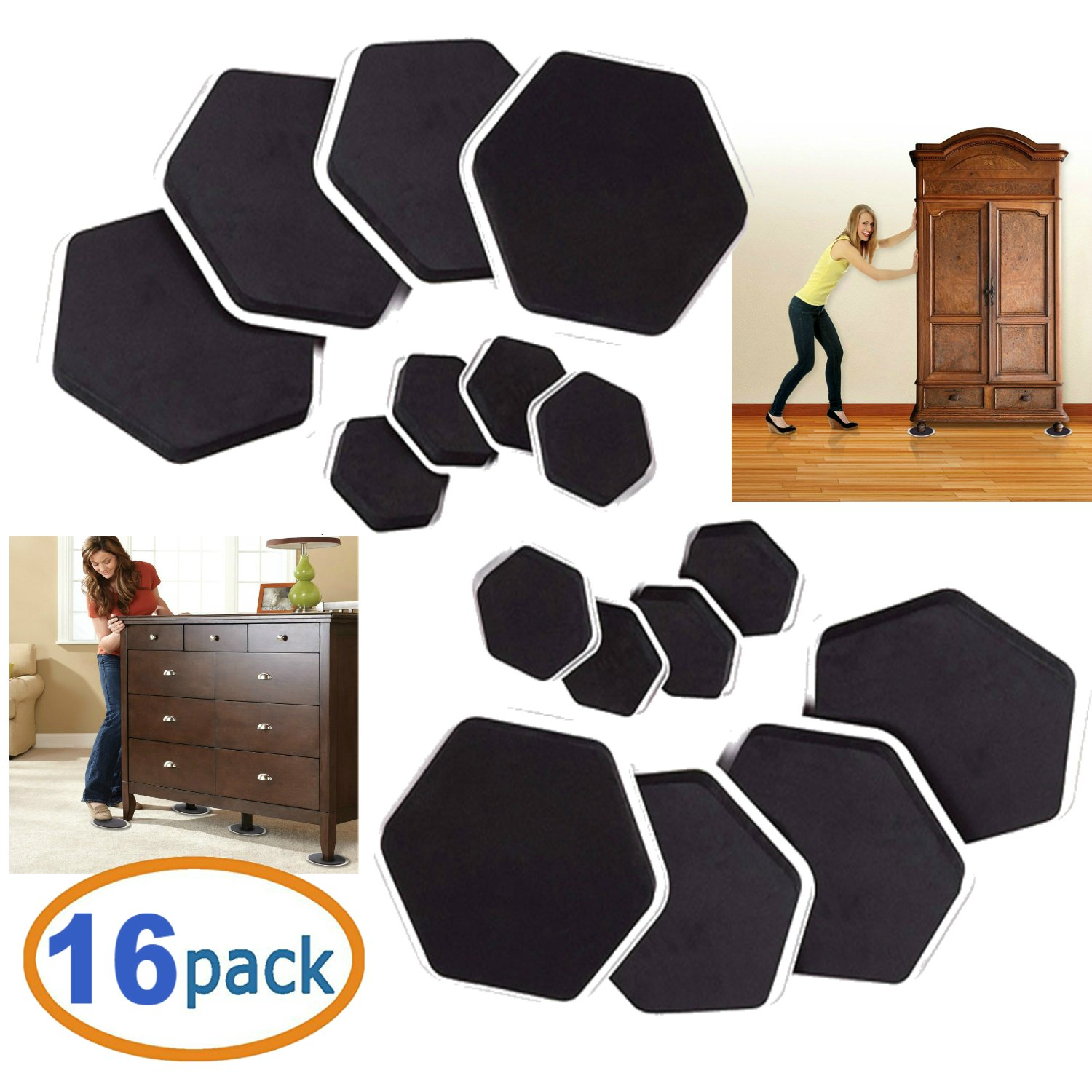Furniture Moving Sliders and Feet Pads 16-Pc For Moving Furniture Gliders for Hardwood Floor Protectors Furniture Pads For Carpet Foam Grip Non Slip Floor Protectors For Furniture Legs