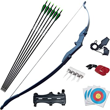 Left or Right Hand 30LB 40LB Bow Length 53.5 Tongtu Multicolor Recurve Bow Arrow Set,Straight Bow for Teens or Beginner Takedown Bow Archery Hunting