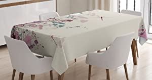 Ambesonne Dragonfly Tablecloth, Plants Petals with Dragonfly Soft Color Design with Grunge Effects Vintage Style, Rectangular Table Cover for Dining Room Kitchen Decor, 52