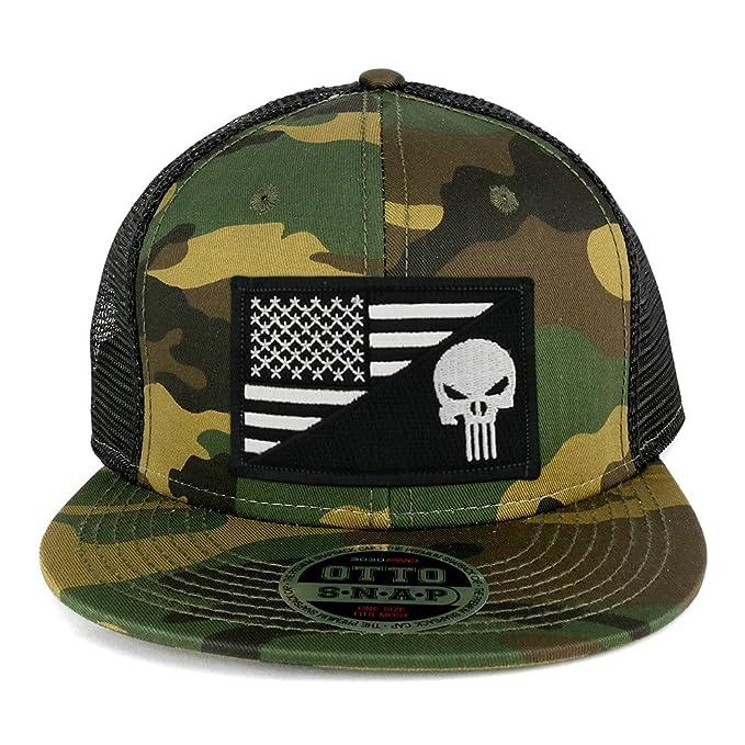 Punisher Black White American Flag Embroidered Patch Camo Flat Bill Snapback  Mesh Cap - BLACK e77c88b1e76