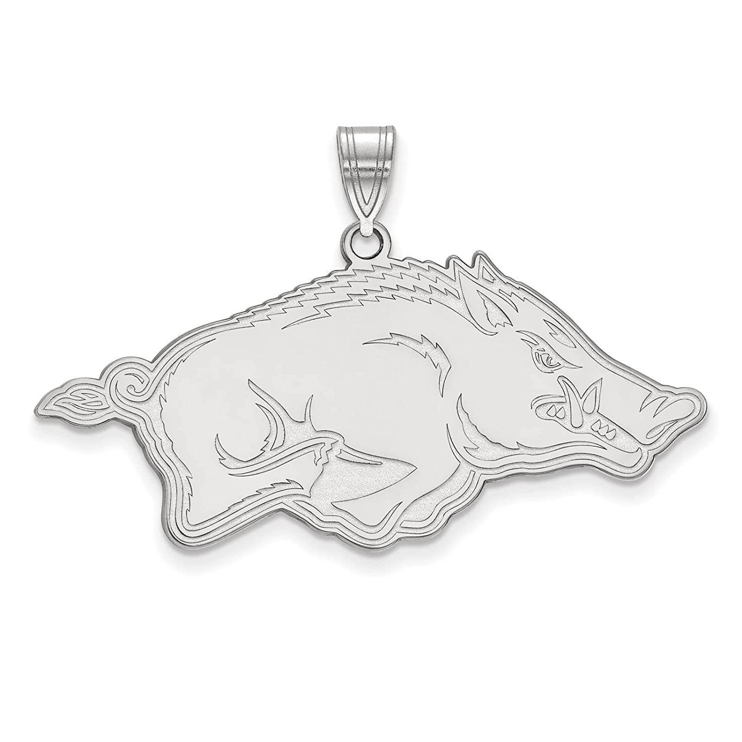 925 Sterling Silver Rhodium-plated Laser-cut University of Arkansas Large Pendant