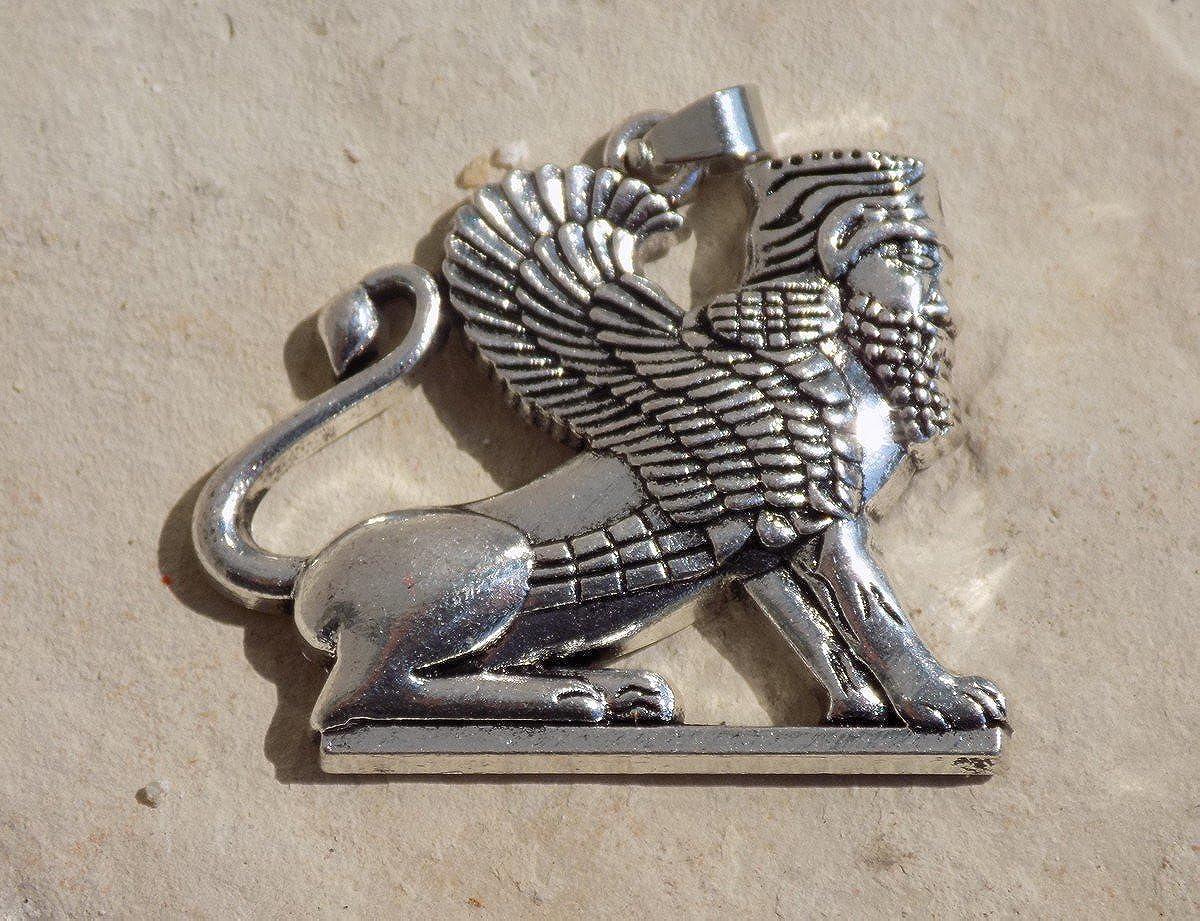 Pendentif Acier Ton Argent et Cha/îne Tr/és jolie pi/èce. Griffon Empire Perse Pendentif Lion Ail/é Homa en Persan