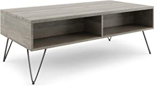 SIMPLIHOME Hunter SOLID MANGO WOOD and Metal 48 inch Wide Rectangle Industrial Contemporary Lift Top Coffee Table in Grey with Storage, 2 Shelves, for the Living Room, Family Room
