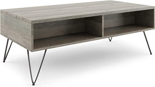 SIMPLIHOME Hunter SOLID MANGO WOOD and Metal 48 inch Wide Rectangle Industrial Contemporary Lift Top Coffee Table