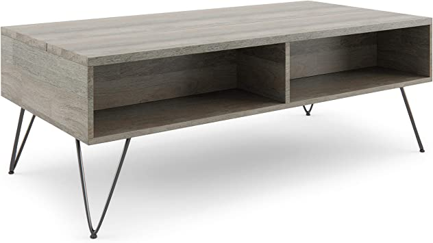 Amazon Com Simplihome Hunter Solid Mango Wood And Metal 48 Inch Wide Rectangle Industrial Contemporary Lift Top Coffee Table In Grey With Storage 2 Shelves For The Living Room Family Room Furniture