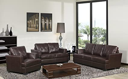 Beverly Furniture F17 3PC BN 3 Piece Contemporary Leather Living Room Sofa  Set,