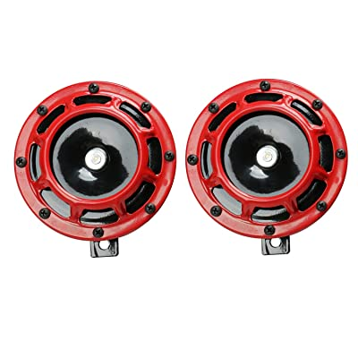Novelbee 12V 110db Electric Super Horn with Bracket,High Tone and Low Tone Metal Twin Horn Kit for Boat,Car,Truck,Motorcycle (Red): Automotive