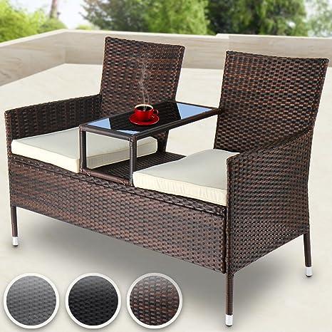 Miadomodo Divano da giardino divanetto con tavolino da giardino in  polyrattan colore marrone